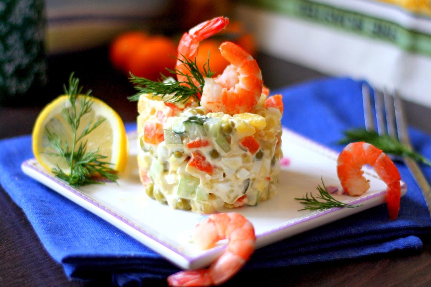 салат оливье с морепродуктами