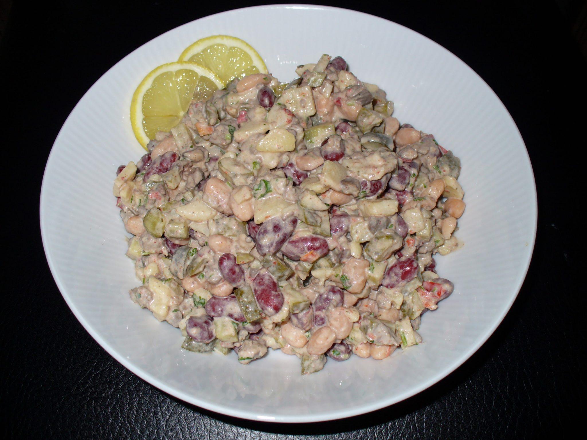 салат оливье с фасолью