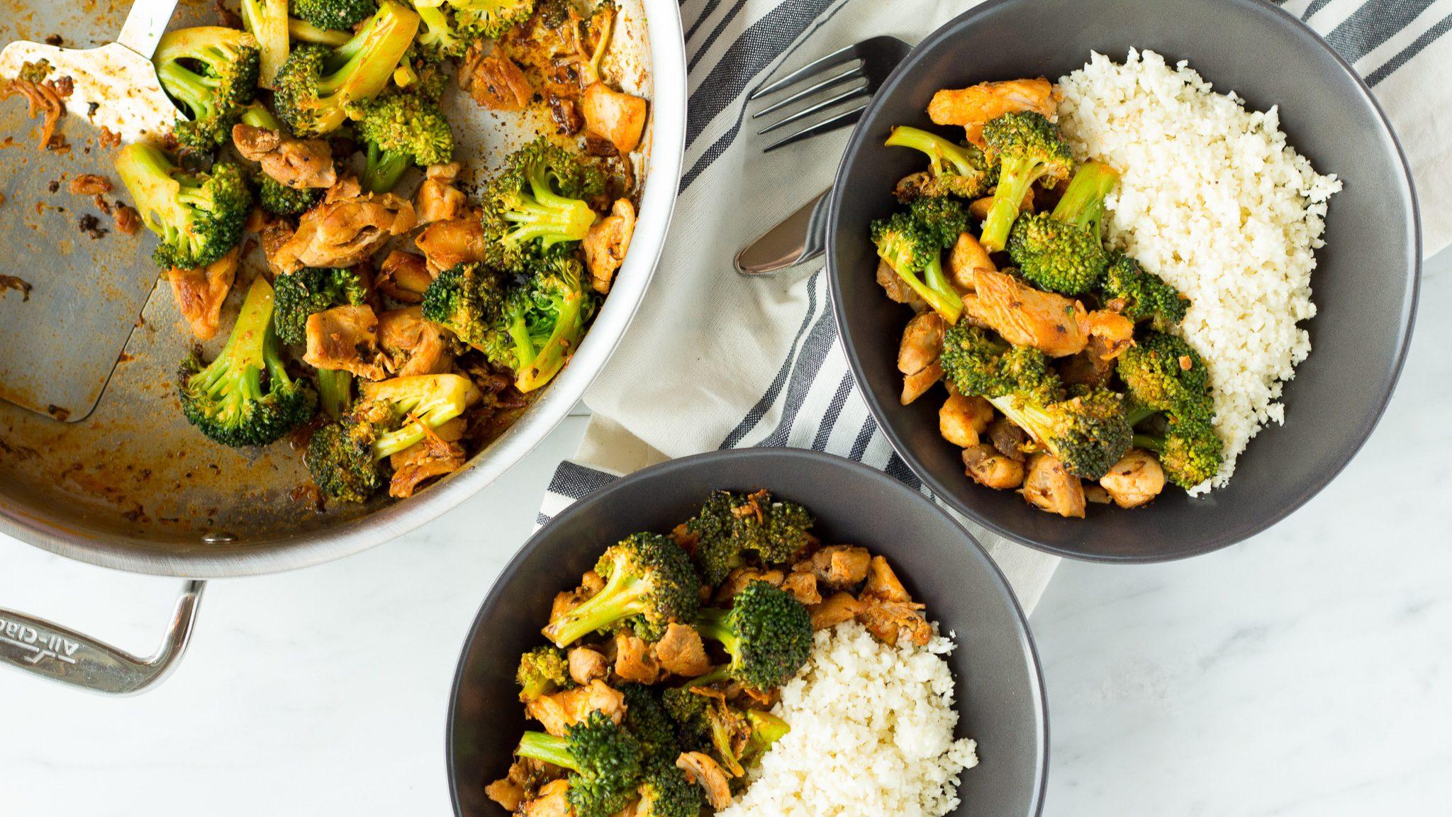 Курица с брокколи и рисом